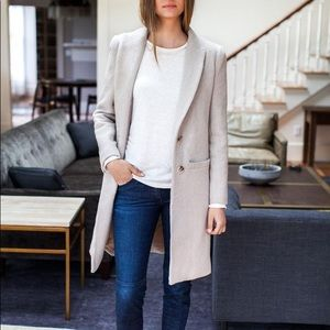 ZARA Grey Coat XS Jacket Peacoat Soft Feel Coat